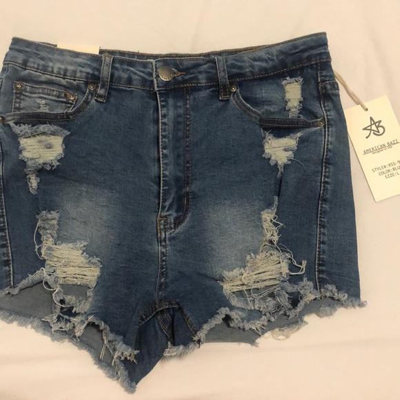 American Bazi Pants - High waisted distressed shorts
